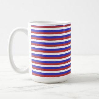 Rayas rojas, blancas y azules tazas de café