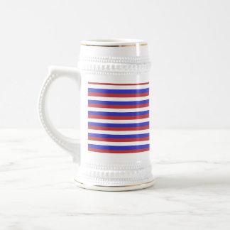 Rayas rojas, blancas y azules taza de café