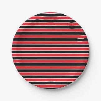 Rayas rojas, blancos y negros plato de papel de 7 pulgadas