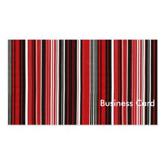 Rayas rojas, blancos y negros tarjetas de visita