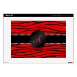 Rayas rojas brillantes de la cebra del monograma portátil skin
