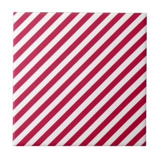 Rayas rojas carmesís del color sólido y del blanco azulejo cuadrado pequeño