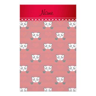 Rayas rojas conocidas personalizadas del corazón papeleria de diseño