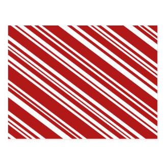 Rayas rojas de la diagonal y blancas variadas postal