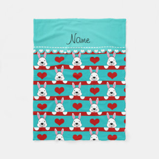 Rayas rojas de los corazones de los conejitos manta de forro polar