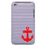 Rayas rojas del ancla y del marinero de los azules barely there iPod protector