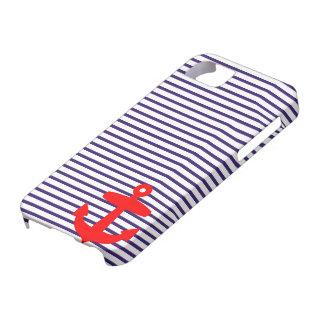 Rayas rojas del ancla y del marinero de los azules iPhone 5 fundas