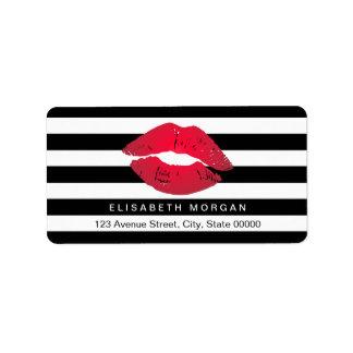 Rayas rojas del blanco del negro de los labios etiqueta de dirección