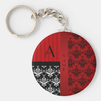 Rayas rojas del damasco del nombre y del monograma llavero personalizado
