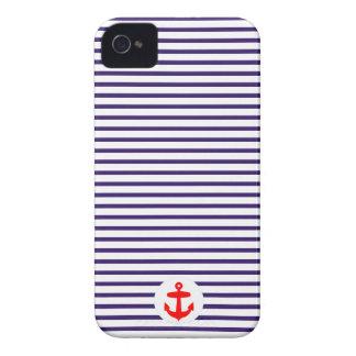 Rayas rojas del marinero del círculo y de los azul iPhone 4 Case-Mate cárcasa