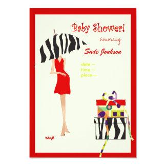 Rayas rojas del vestido/de la cebra de la ducha de invitación 12,7 x 17,8 cm