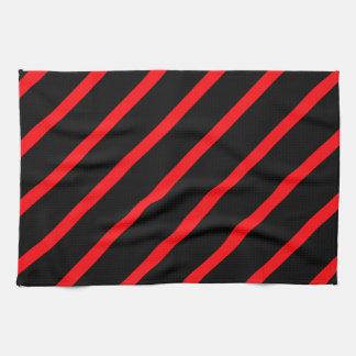 Rayas rojas negras toallas de mano