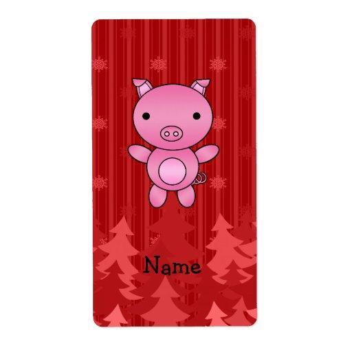 Rayas rojas personalizadas de los árboles de navid etiqueta de envío