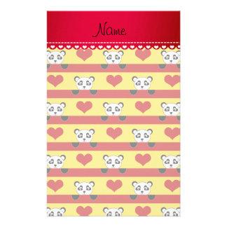 Rayas rojas personalizadas del corazón de la panda  papeleria