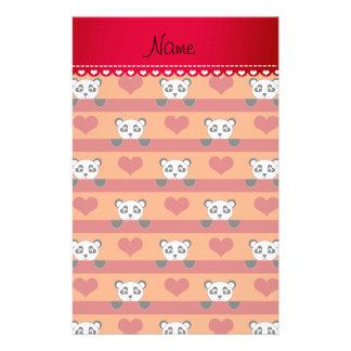 Rayas rojas personalizadas del corazón de la panda  papeleria de diseño