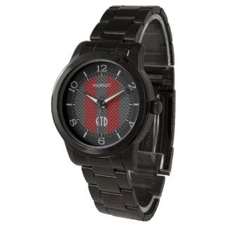 Rayas rojas personalizadas del estilo del carbono relojes de pulsera