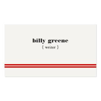 Rayas rojas profesionales blancas modernas simples tarjetas de visita