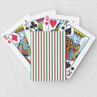 Rayas rojas, verdes, y blancas baraja de cartas bicycle