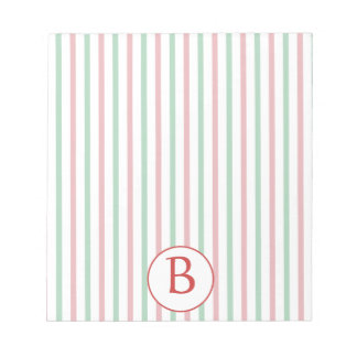 Rayas rojas, verdes y blancas con el monograma bloc de notas