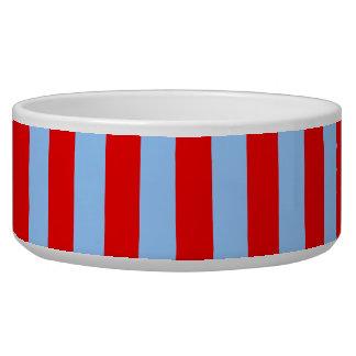 Rayas rojas y azules claras tazones para perro