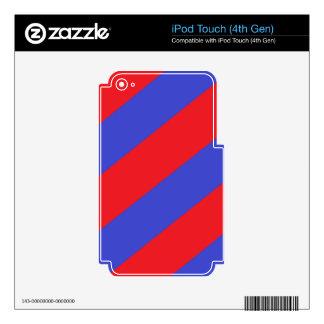 Rayas rojas y azules iPod touch 4G calcomanías