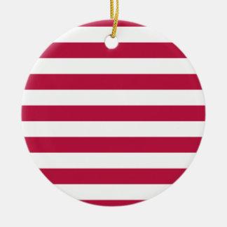 Rayas rojas y blancas adorno navideño redondo de cerámica
