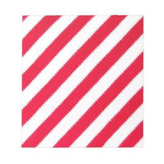 Rayas rojas y blancas libretas para notas