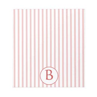 Rayas rojas y blancas con el monograma libreta para notas
