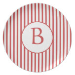 Rayas rojas y blancas con el monograma plato de cena