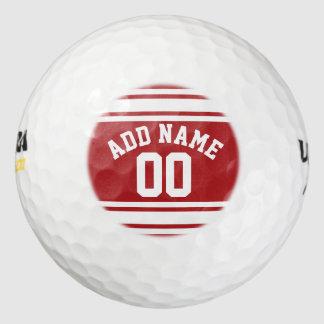 Rayas rojas y blancas con nombre y número pack de pelotas de golf