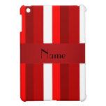 Rayas rojas y blancas conocidas personalizadas iPad mini protectores