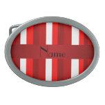 Rayas rojas y blancas conocidas personalizadas hebillas de cinturón ovales