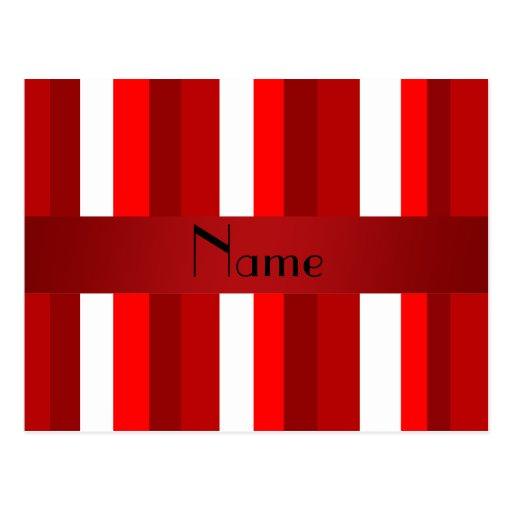 Rayas rojas y blancas conocidas personalizadas postal