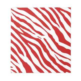 Rayas rojas y blancas de la cebra libreta para notas