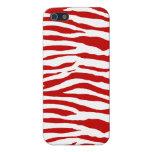 Rayas rojas y blancas de la cebra iPhone 5 cárcasa