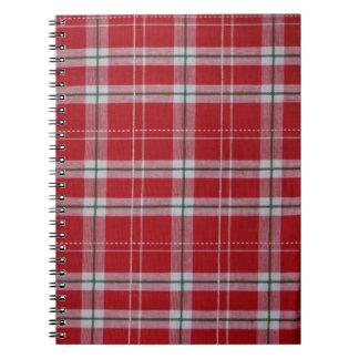 Rayas rojas y blancas de la tela escocesa de tartá libro de apuntes con espiral