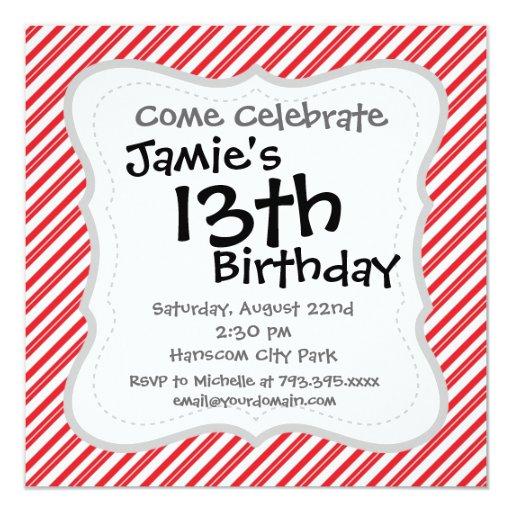 Rayas rojas y blancas del bastón de caramelo de la invitación 13,3 cm x 13,3cm