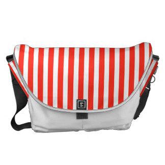 Rayas rojas y blancas del circo de la cabaña bolsas messenger