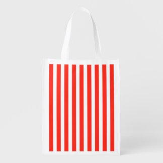 Rayas rojas y blancas del circo de la cabaña bolsas reutilizables