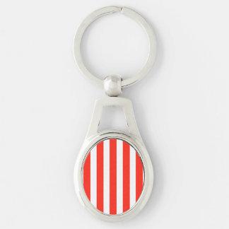 Rayas rojas y blancas del circo de la cabaña llavero plateado ovalado