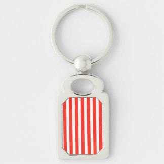 Rayas rojas y blancas del circo de la cabaña llavero plateado rectangular
