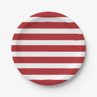 Rayas rojas y blancas del Día de la Independencia Plato De Papel De 7 Pulgadas