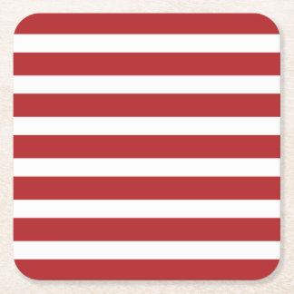 Rayas rojas y blancas del Día de la Independencia Posavasos Desechable Cuadrado