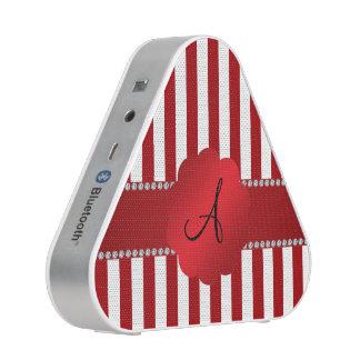 Rayas rojas y blancas del monograma altavoz bluetooth