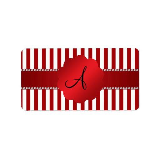 Rayas rojas y blancas del monograma etiqueta de dirección