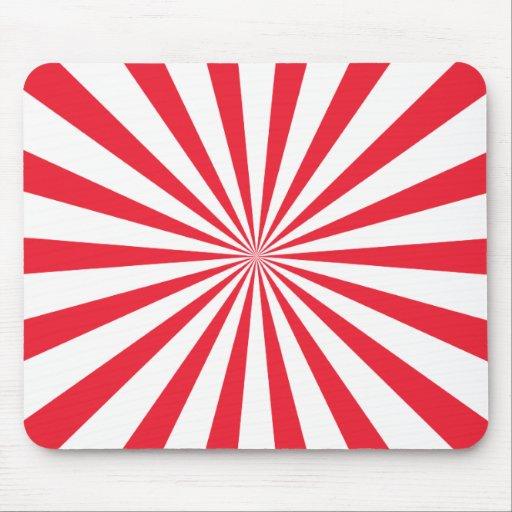 Rayas rojas y blancas del resplandor solar tapete de ratones