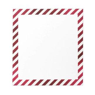 Rayas rojas y blancas en textura de la tela libretas para notas