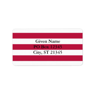 Rayas rojas y blancas etiqueta de dirección