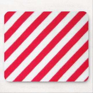 Rayas rojas y blancas mouse pad