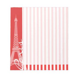 Rayas rojas y blancas; París Libretas Para Notas